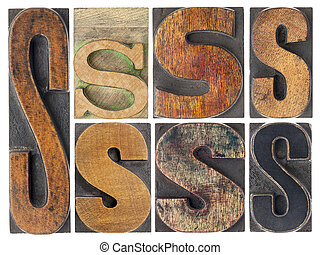 letter S in wood type blocks