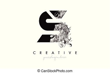 Letter S Logo Design Icon with Artistic Grunge Texture In Black and White