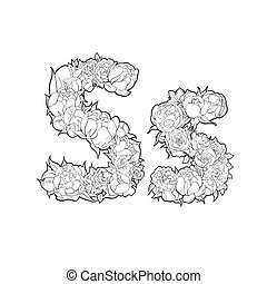 Letter S made of flowers - Letter S made of peonies and...