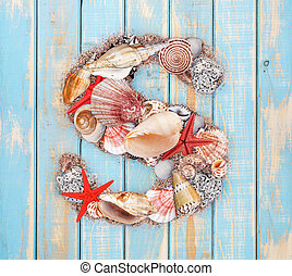 Letter S made of seashell on blue wooden background