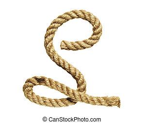 Letter S - old natural fiber rope bent in the form of letter...