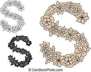 Letter S with vintage floral motifs