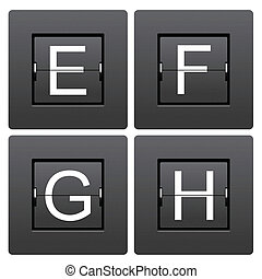 Letter series E to H from mechanical scoreboard