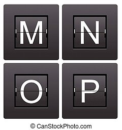 Letter series M to P from mechanical scoreboard