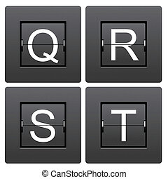 Letter series Q to T from mechanical scoreboard