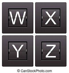 Letter series W to Z from mechanical scoreboard