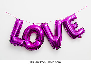 letter-shaped balloons forming the word love