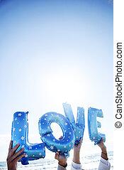 letter-shaped, globos, formación, el, palabra, amor