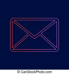 Letter sign illustration. Vector. Line icon with gradient from red to violet colors on dark blue background.