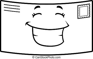 Letter Smiling - A cartoon stamped letter happy and smiling.