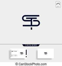 Letter ST TS S T Logo Design Simple Vector