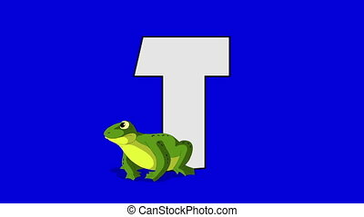 Letter T and Toad (foreground) - Animated animal alphabet....