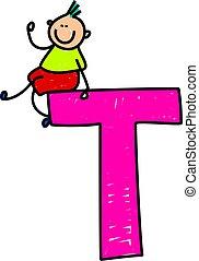 letter T boy - happy little caucasian boy sitting on giant...