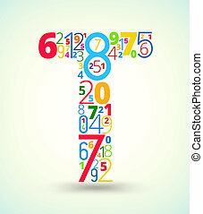 Letter T, colored vector font from numbers