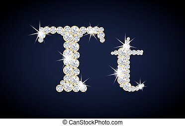 "Letter ""T"" composed from diamonds with golden frame. ..."