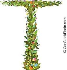 Letter T floral latin decorative character alphabet...