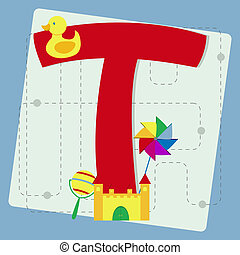 "Letter ""t"" from stylized alphabet with children's: rattle,..."