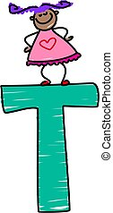 letter T girl - little girl standing on the letter T