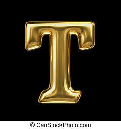 LETTER T in golden metal