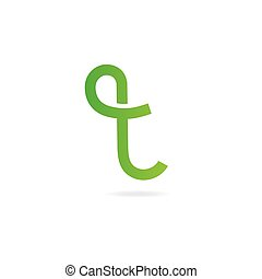 Letter T logo. Design template elements, curved lines, eco.