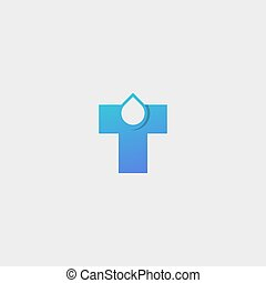 Letter T Logo With Drop Water Vector Design