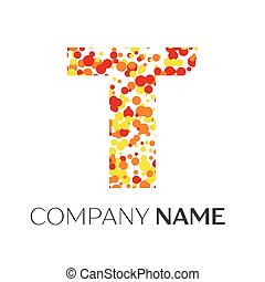 Letter T Logo With Orange Yellow Red Particles And Bubbles Dots On White Background