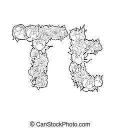 Letter T made of flowers - Letter T made of peonies and...