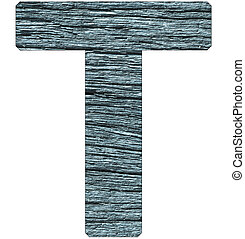 Letter T of the alphabet, with wood texture in blue color