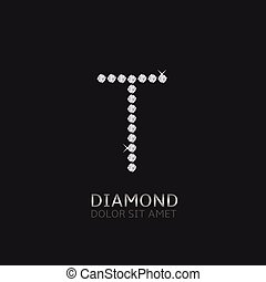 Letter T with gemstones