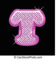 Letter T with pink bling pattern