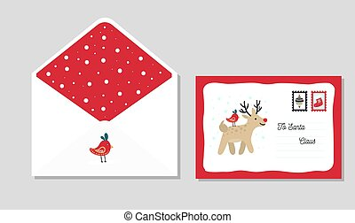 Letter template to santa with cute red envelope