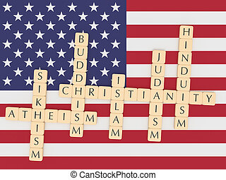 Letter Tiles Christianity, Islam, Judaism, Buddhism, Hinduism, Sikhism, Atheism with US flag, 3d illustration