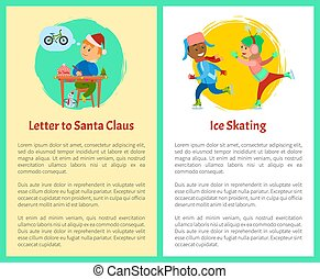 Letter to Santa and Ice Skating Posters with Text