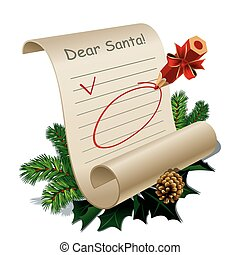 Letter to Santa Claus With Blank Guidelines. Vector Illustration