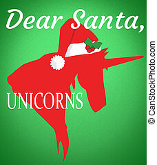 Letter to Santa Dear Santa Unicorns with Clipping Path Isolated on Green