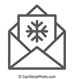 Letter to Santa line icon, envelope and christmas, good wishes sign, vector graphics, a linear pattern on a white background.