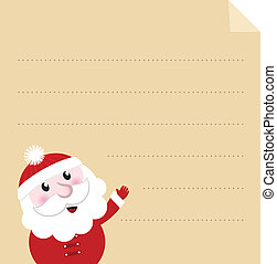 Letter to Santa - old paper parchment with character