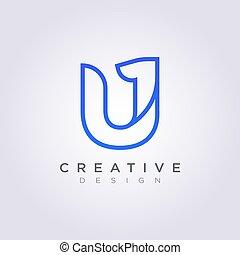 Letter U 1 Vector Illustration Design Clipart Symbol Logo Template