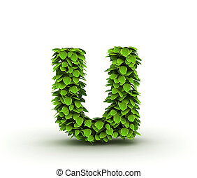 Letter u, alphabet of green leaves isolated on white background, lowercase