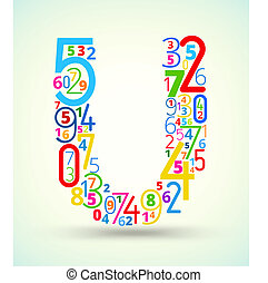 Letter U, colored vector font from numbers