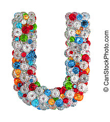 Letter U from scattered gems jewelry