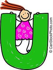 letter U girl - happy little girl climbing over giant letter...