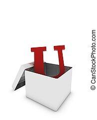 letter u in box