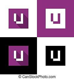 Letter U logo icon, square shape design, vector illustration