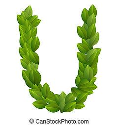 Letter U of green leaves alphabet