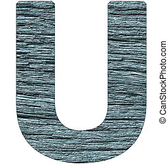 Letter U of the alphabet, with wood texture in blue color