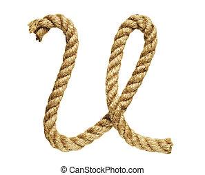 Letter U - old natural fiber rope bent in the form of letter...