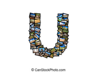 Letter U uppercase font shape alphabet collage made of my...