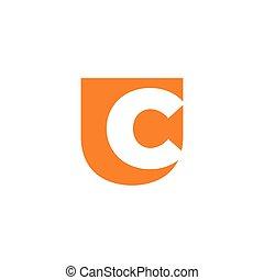 letter uc simple negative space logo vector