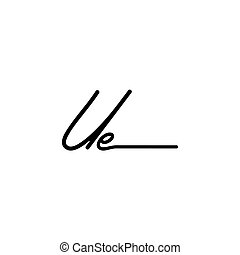 Letter UE Signature Logo Template Vector - Initial Signature...